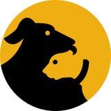 De hond en de kattensilhouetpictogram van het huisdier Royalty-vrije Stock Foto's