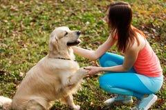 De hond geeft poot aan meisje Stock Fotografie
