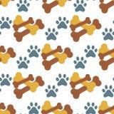 De hond kauwt van het het koekjes dierlijke voedsel van de beenzorg van het het puppy honds naadloze patroon vectorillustratie al royalty-vrije illustratie