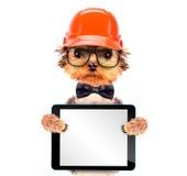 De hond kleedde zich als bouwer met tabletpc Stock Afbeeldingen