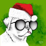 De hond in Santa Claus-hoed stelt Nieuwjaar` s achtergrond in werking Vector illustratie Stock Afbeelding