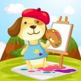 De hond van de kunstenaar het schilderen Stock Afbeeldingen