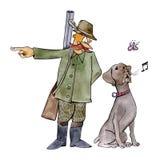 De hond van de wijzer bij de jacht Stock Foto's