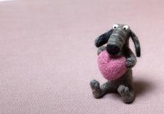 De Hond van Felted in Liefde Royalty-vrije Stock Foto