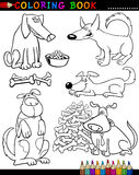 De Honden van het beeldverhaal voor het Kleuren van Boek of Pagina Stock Afbeelding