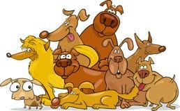 De hondengroep van het beeldverhaal Stock Afbeeldingen