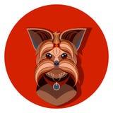 De hondgezicht van Yorkshire Terrier - vectorillustratie Stock Afbeelding