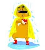 De hondkarakter van het dalingsseizoen Leuk huisdier onder de regen met regenjas Stock Afbeelding