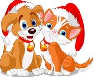 De hondn kat van Kerstmis Stock Afbeelding