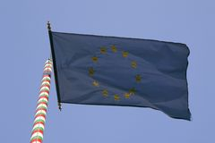 De Hongaarse vlag van de EU Stock Afbeelding