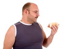 De honger van de hotdog Stock Afbeeldingen