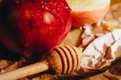 De honing met houten honingsdipper document servet en de vruchten op houten lijst sluiten omhoog royalty-vrije stock fotografie