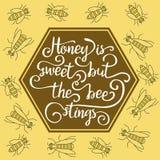 De honing is zoet maar de bij steekt royalty-vrije illustratie
