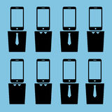 De hoofden van beambtensmartphone royalty-vrije illustratie