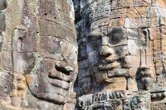 De hoofden van Boedha van de Bayon-Tempel in Angkor Thom, Kambodja royalty-vrije stock afbeeldingen