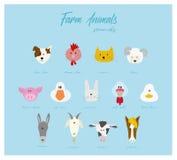 De hoofden van het landbouwbedrijfdieren van het beeldverhaalkarakter - vector vector illustratie