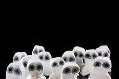De hoofden van het spook in een enge menigte Stock Foto