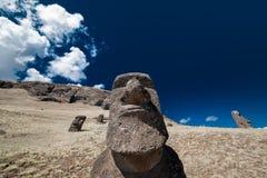 De hoofden van Moai van het Eiland van Pasen Stock Afbeeldingen