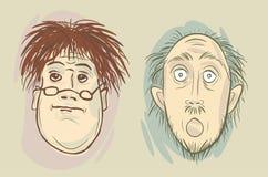 De hoofden van twee beeldverhaalmensen Stock Foto
