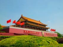 De hoofdingang aan de verboden stad op de tian-een-Mensen van Peking vierkant royalty-vrije stock afbeelding