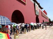 De hoofdingang aan de verboden stad op de tian-een-Mensen van Peking vierkant royalty-vrije stock foto's