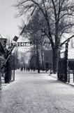De HoofdIngang van Auschwitz, Polen Stock Fotografie