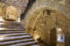 De hoofdingang van het Ajlounkasteel en trap, Jordanië stock foto
