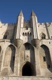 De hoofdingang van het Paleis van pausen - Avignon - Frankrijk Stock Afbeeldingen