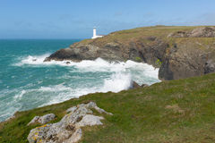 De Hoofdkustlijn Van Cornwall van Noord-Cornwall kusttrevose tussen Newquay en Padstow Royalty-vrije Stock Afbeeldingen
