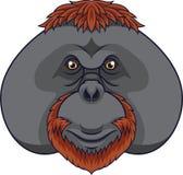 De hoofdmascotte van de beeldverhaalorangoetan vector illustratie