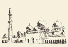 De hoofdmoskee getrokken Sheikh Zayed Mosque van Abu Dhabi Stock Afbeeldingen