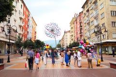 De hoofdstraatmening Bulgarije van Sofia Stock Fotografie