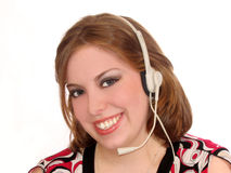 De Hoofdtelefoon van de vrouw Stock Foto