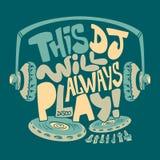 De hoofdtelefoon van DJ, typografie en de grafiekdruk van het T-stukoverhemd royalty-vrije illustratie