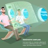 De Hoofdtelefoon van de passagiersslijtage bij Innovatief Vliegtuig royalty-vrije illustratie