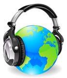 De hoofdtelefoons van de de bolmuziek van de wereld Stock Afbeelding