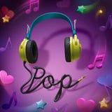 De hoofdtelefoons van de popmuziek Royalty-vrije Stock Afbeeldingen