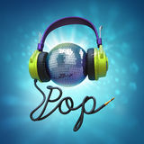 De hoofdtelefoons van de popmuziek Stock Afbeelding