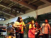 De hoofdzanger van Begeleidingsband speelt gitaar en zingt Stock Foto