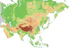 De hoog gedetailleerde fysieke kaart van Azië royalty-vrije illustratie