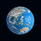 de hoog gedetailleerde kaart van de Aarde, China, Australië, Royalty-vrije Stock Foto's
