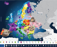 De hoog gedetailleerde kaart van Europa met coutriesnamen en de grenzen van het gebied Stock Afbeelding