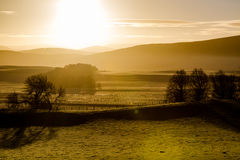 De hooglanden van Schotland bij de koude winter ontruimen zonsopganglucht Royalty-vrije Stock Foto's