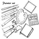 De hoogst gedetailleerde geplaatste pictogrammen van de kunstenaarslevering stock illustratie