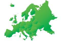 De hoogst gedetailleerde groene kaart van Europa Stock Afbeelding