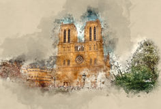 De hoogste aantrekkelijkheden in Parijs - beroemde Notre Dame Cathedral stock foto's