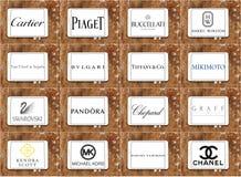 De hoogste beroemde emblemen en de merken van juwelenbedrijven Stock Foto's