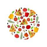 De hoogste ingrediënten van de Meningspizza in de cirkelsamenstelling en de gesneden pizza stock illustratie