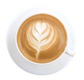 De hoogste kunst van de menings hete die koffie latte op witte achtergrond, klem wordt geïsoleerd Stock Foto's