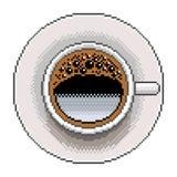 De hoogste mening gedetailleerde illustratie geïsoleerde vector van de pixelkoffie stock illustratie